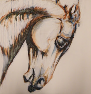 contemporary acrylic painting of horse head,