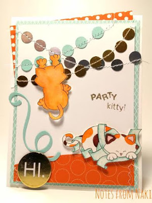 Party Cat Card by May Guest Designer Nakaba Rager | Newton's Nook Designs #newtonsnook