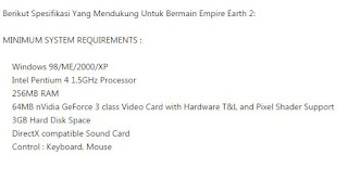 Spesifikasi Game Empire Earth 2