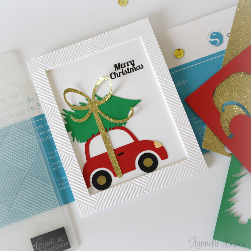 Christmas card - Car with Christmas tree - Love SVG