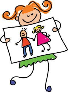 Clipart Image of a Stick Figure Girl Holding a Drawing