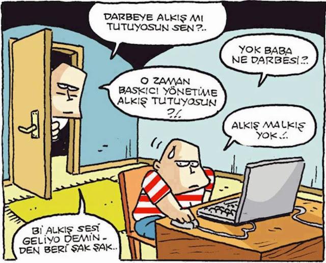 darbeye alkış karikatür