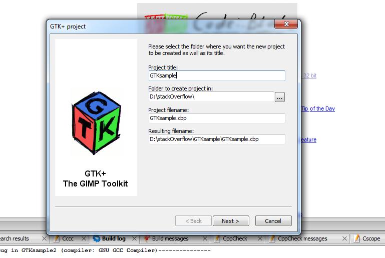 Setup GTK project in Code::Blocks (windows 7)   Code in code::blocks