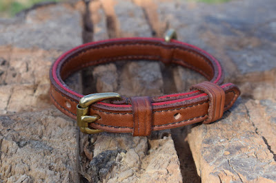 Toy poodle leather collar with red border 12 mm wide with solid brass buckle