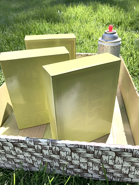 green spray painted frames for DIY project