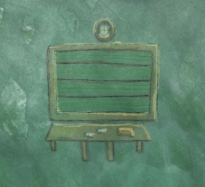 Illusztráció gyerekvershez, szeptemberi iskolakezdés, üres, penészzöld osztályteremben zöld, vonalas fali tábla, mutatós óra, szivacs, kréta.