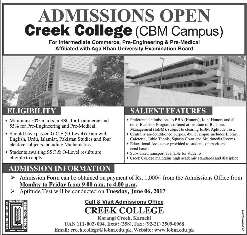 Admission Open in Creek College Karachi CBM Campus 2017