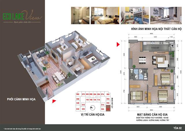 Thiết kế căn hộ 3 ngủ 3A chung cư ECO LAKE VIEW