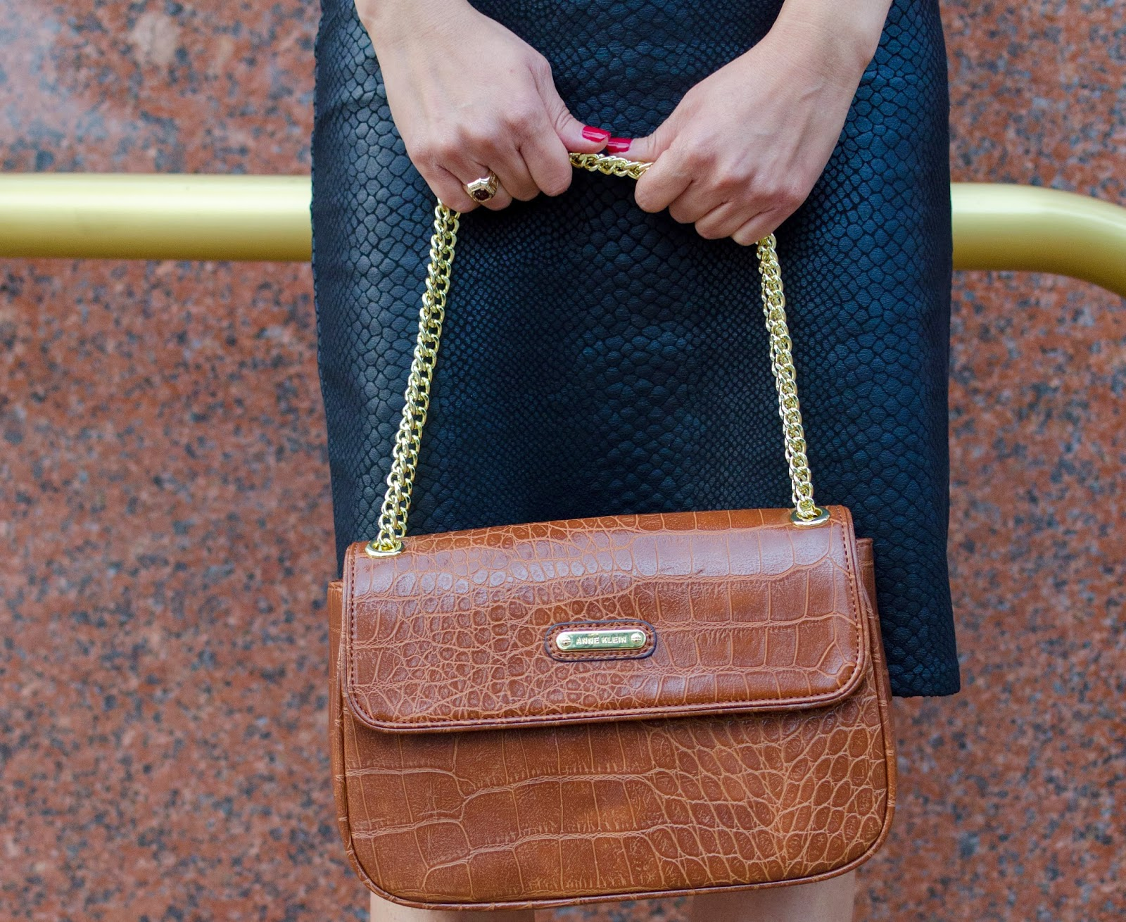 Anne Klein Brown Handbag and Olivaceous Black Python Print Pencil Skirt