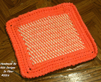One Orange and Cream Tweed Pot Holder by Ruth Sandra Sperling of RSS Designs In Fiber