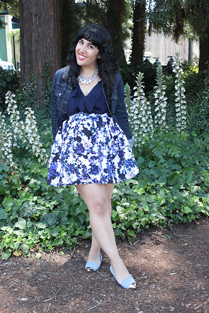 LE TOTE Denim Jacket and Blue Floral Express Skirt Summer Outfit