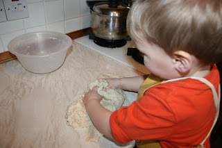 child making dough