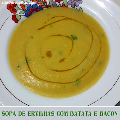 Sopa de ervilhas com batata e bacon