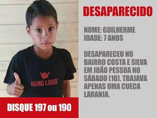 Desaparecimento de criança, de 7 anos, completa 1 mês neste sábado