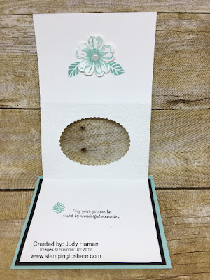 Tri-fold Peek Through Card created by Judy Hamen with Stampin' Up! Flower Shop, Stamping to Share.