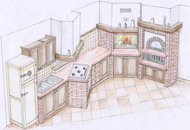 Costruire una cucina in muratura il fai da te - Cucine in muratura progetti ...
