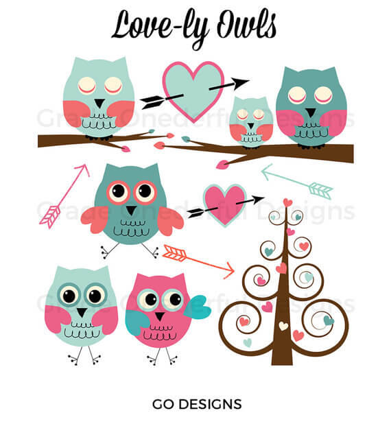 Valentine Owls Clipart Set by Grade ONEderful Designs