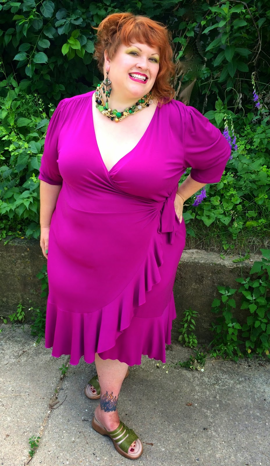 c7f81b21293 Dress  Whimsy Wrap Dress in Magenta by Kiyonna via Gwynnie Bee (click link  to get a free month   help me earn a free garment for a month)