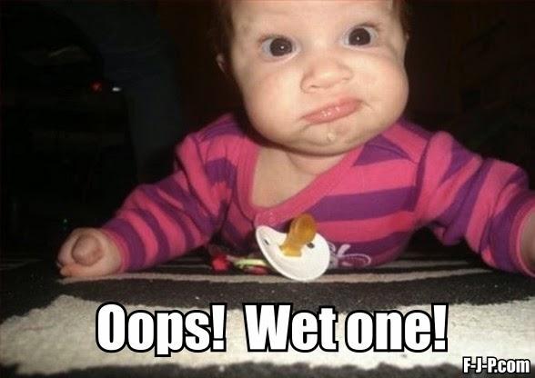 Funny Baby Oops Wet One Meme Joke Picture