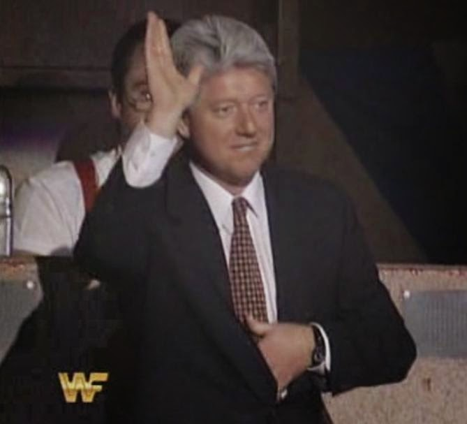 WWF / WWE: Wrestlemania 10 - 'Bill Clinton' enjoyed the show with IRS