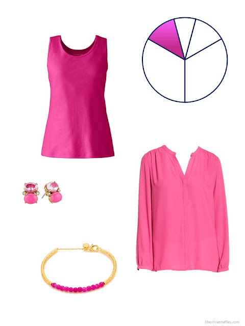 hot pink additions to a beige and navy based travel capsule wardrobe