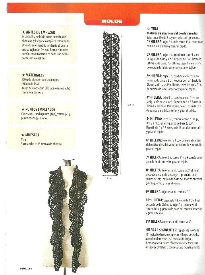 chalinas, bufandas, crochet, ganchillo, patrones