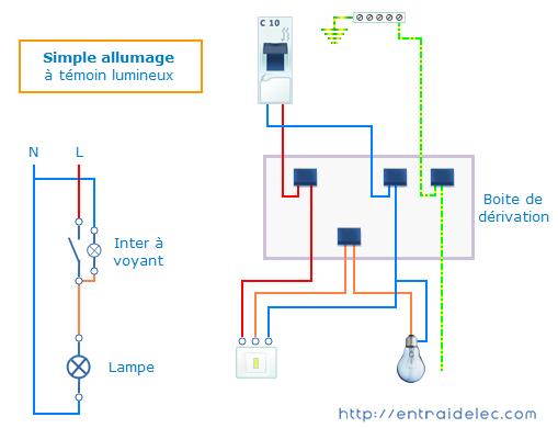 cablage interrupteur simple allumage t moin ou voyant schema electrique. Black Bedroom Furniture Sets. Home Design Ideas
