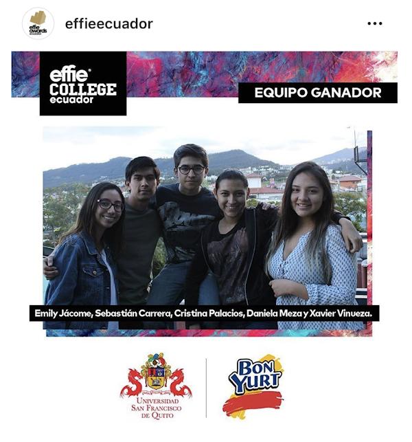 Equipo USFQ gana premio en concurso interuniversitario Effie College