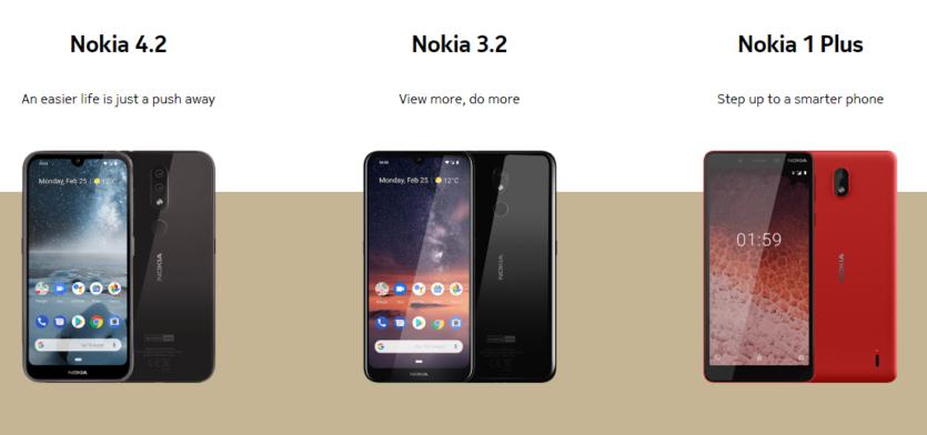 Nokia 3.2, Nokia 4.2, dan Nokia 1.1 Plus