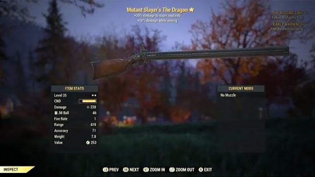 Где найти мушкет Дракон в Fallout 76