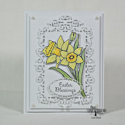 Our Daily Bread Designs Stamp Set: Daffodils, Our Daily Bread Designs Custom Dies:Daffodil, Layered Lacey Ovals, Filigree Frames, Boho Background, Double Stitched Rectangles