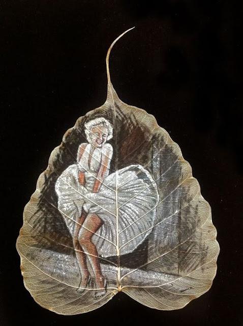 peepal leaf painting marilyn monroe