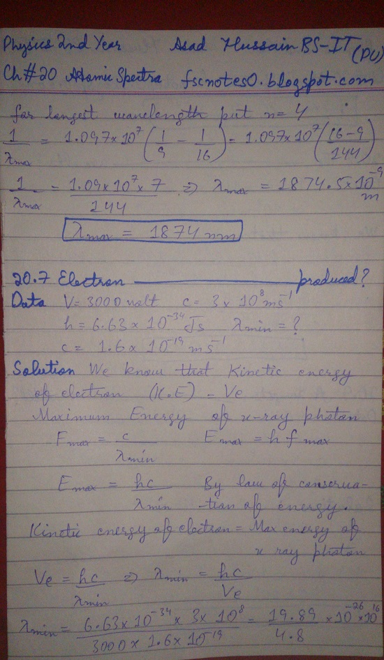 F.Sc ICS Notes: Physics XII: Chapter 20 Atomic Spectra Numerical Problems Asad Hussain 4