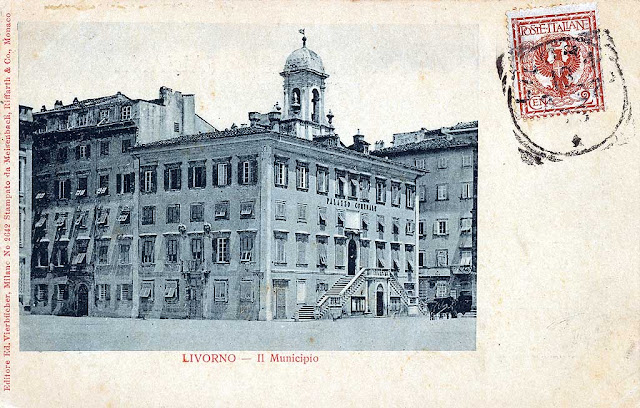 Old postcard, municipal palace, town hall, Livorno