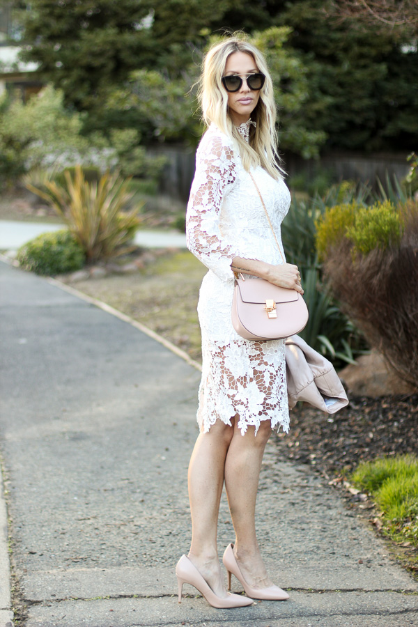 cream crochet fitted lace dress