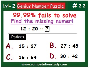 Math Puzzle: Find the missing number: 12 : 20 :: ?
