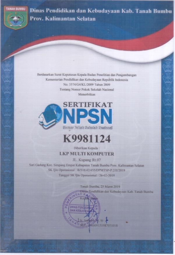 NPSN (Nomor Pokok Sekolah Nasional) LKP Multi Komputer