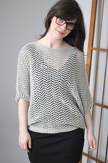 Zig Zag lace accent sweater with wide body/attached arms.