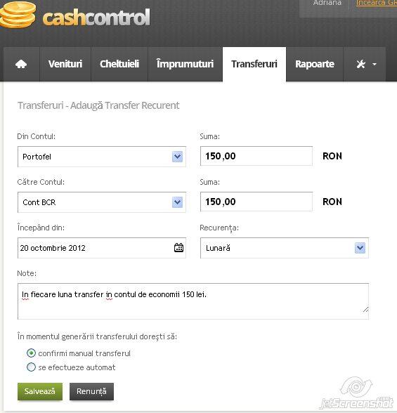 cash control, adaugarea unui transfer recurent