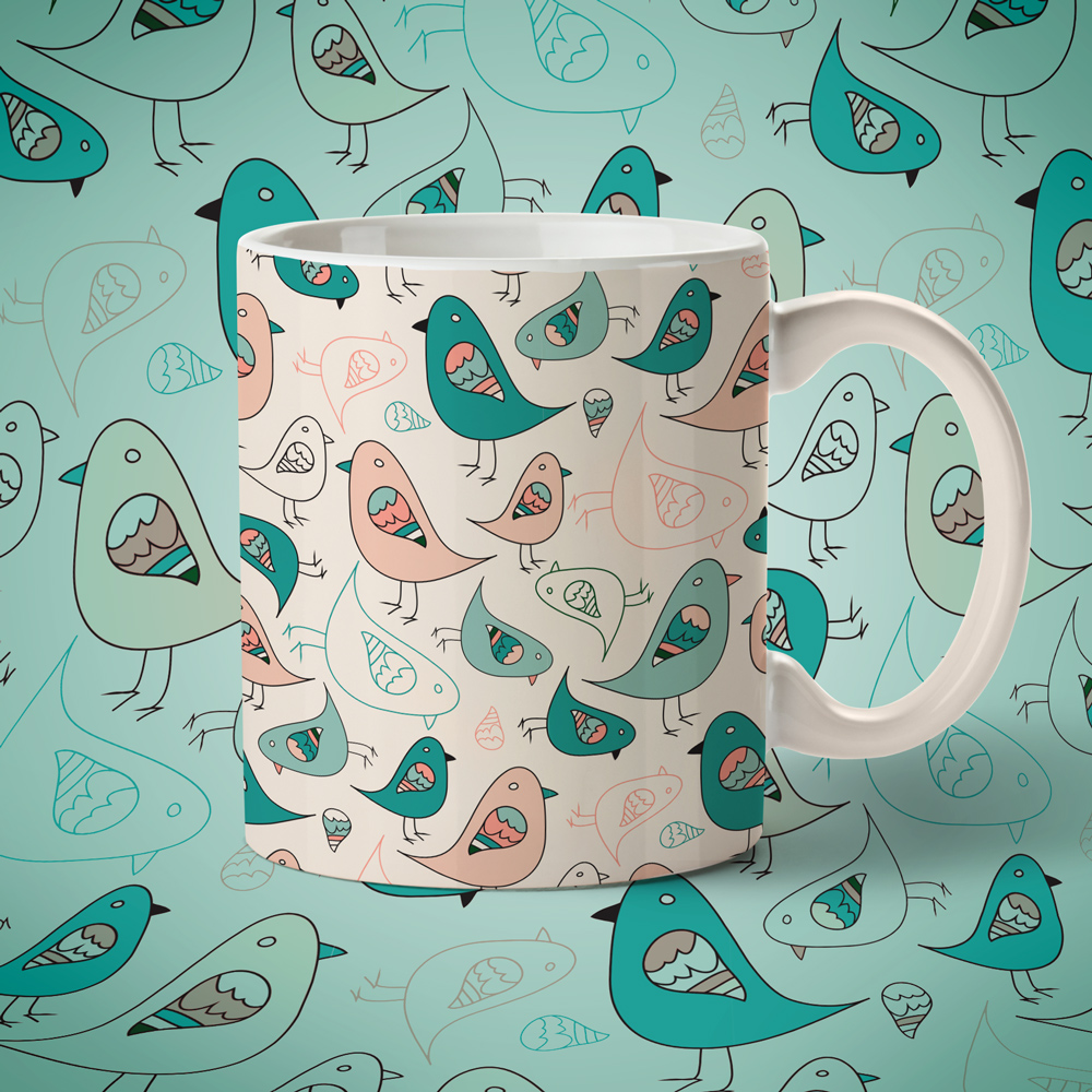 Cup with hand drawn pattern