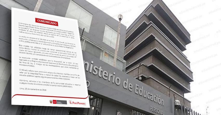 MINEDU destituye a profesor acusado de violación sexual a escolar en Chancay