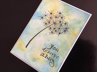Hand made friendship card with distress oxide inked background, stamped grass stem and greeting.