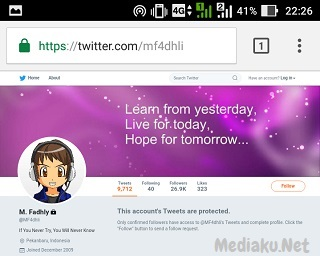 Tampilan Twitter Full Site Di UC Browser