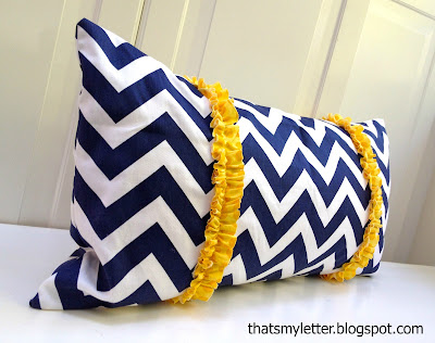 chevron pillow with yellow ruffle trim