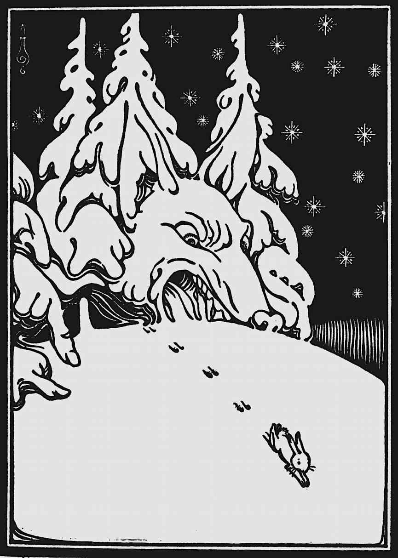 Artzybasheff, rabbit fleeing wolf