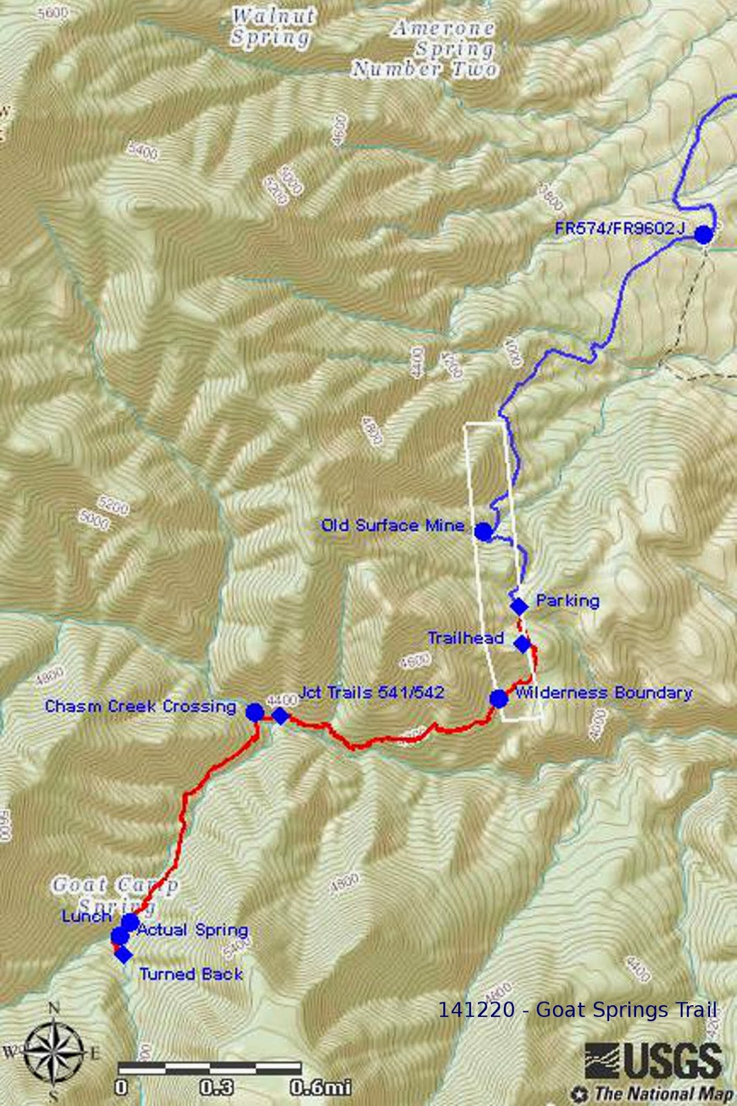 our gps track is shown in red on the included map next page the light rectangular shape outlines private private traversed by both fr 9602j and by goat