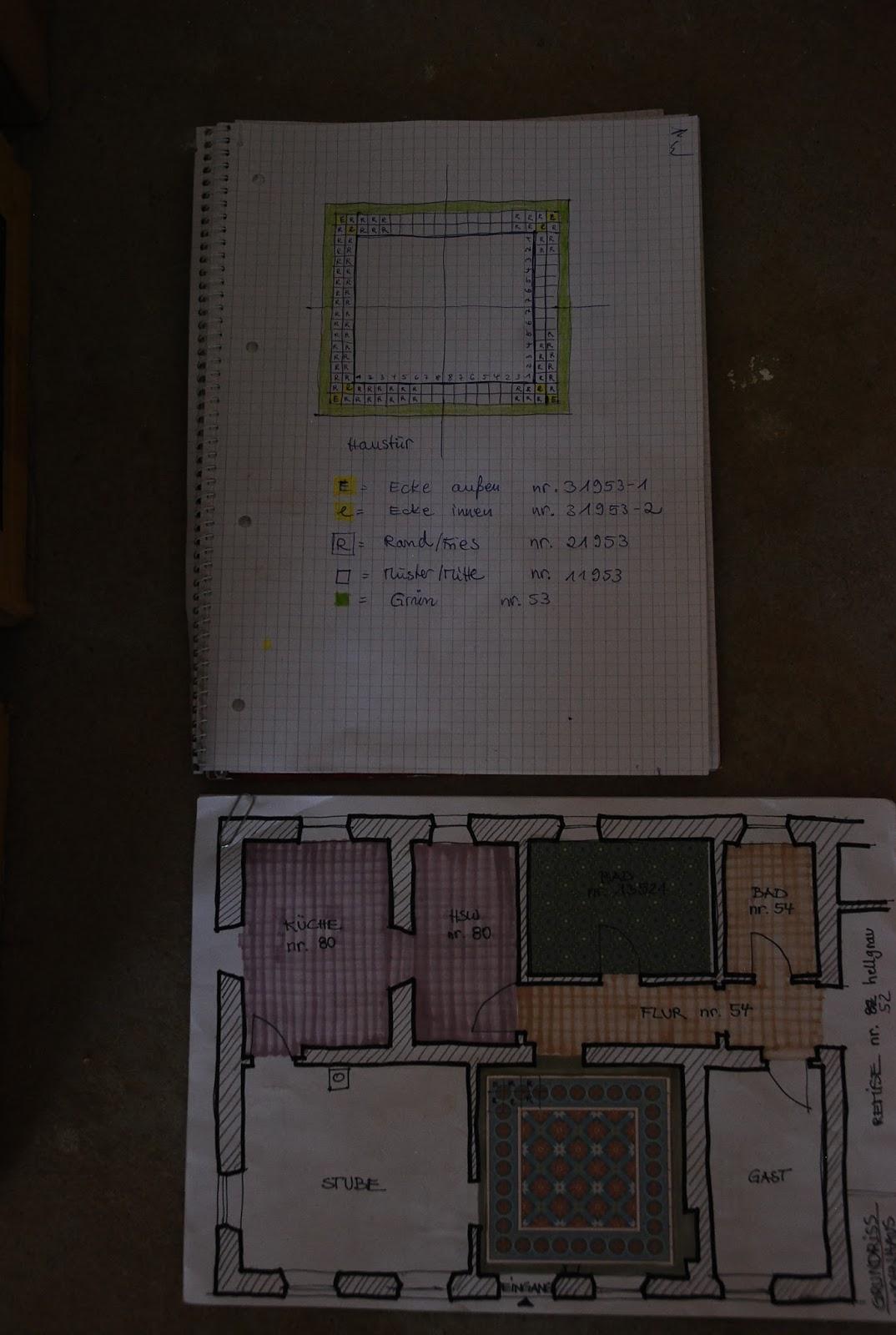 Ein Bautagebuch: 65. Zementfliesen Verlegen