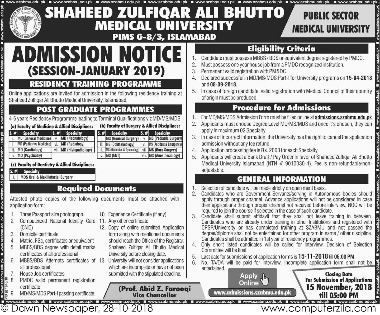 Admissions Open For Spring 2019 At SZABMU Islamabad Campus