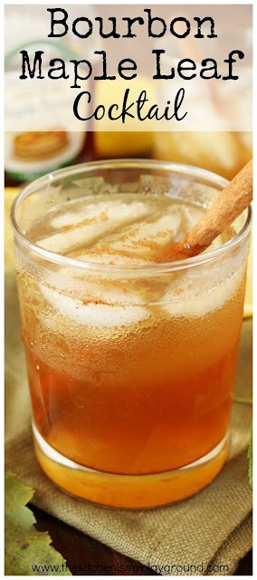 Bourbon Maple Leaf Cocktail ~ Bourbon and pure maple syrup pair up beautifully in this tasty cocktail.  With just a hint of cinnamon, it's perfect for Fall sipping!  www.thekitchenismyplayground.com