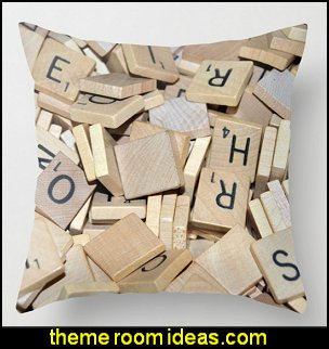 Pile of Scrabble Tiles Throw Pillow   book themed decor - Bibliophiles decor - Book themed furnishings - home decor for book lovers - book themed bedroom - Stacked Books decor - Stacked Books furniture - bookworm decor - book boxes - library furniture - formal study furniture - antique book decor - unique furniture - novelty furniture - Logophile decor - scrabble themed bedroom  - scrabble wall decorations - Crossword bedroom decor